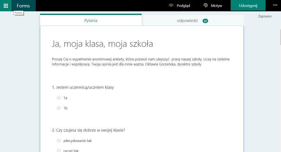 Microsoft przykładowa ankieta